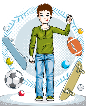 Child young teen boy cute standing in stylish casual clothes. Vector kid illustration. Fashion and lifestyle theme cartoon. Illustration