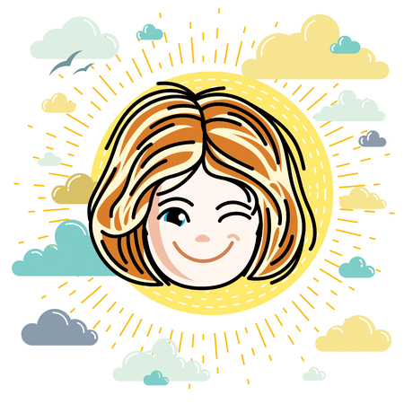 Illustration of beautiful red-haired happy girl face, positive face features, clipart. Teenager winking. Illustration
