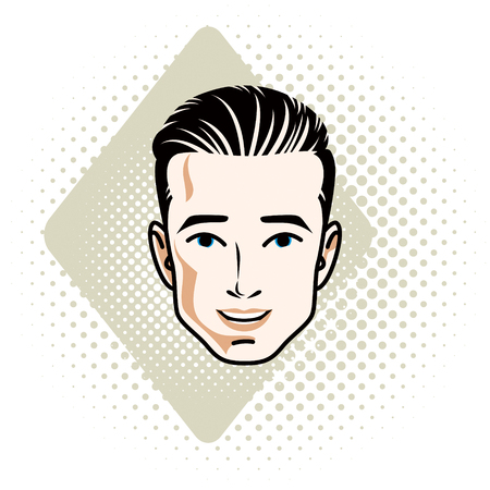 features: Man face, human head. Vector character, handsome brunet male with stylish haircut. Illustration