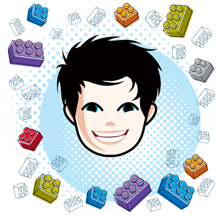 Boy face, human head. Vector character, happy brunet teenager with stylish haircut.