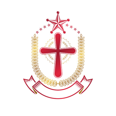 catholicism: Christian Cross gothic emblem created with pentagonal star and laurel wreath. Heraldic Coat of Arms decorative logo isolated vector illustration. Religion and spirituality art symbol.