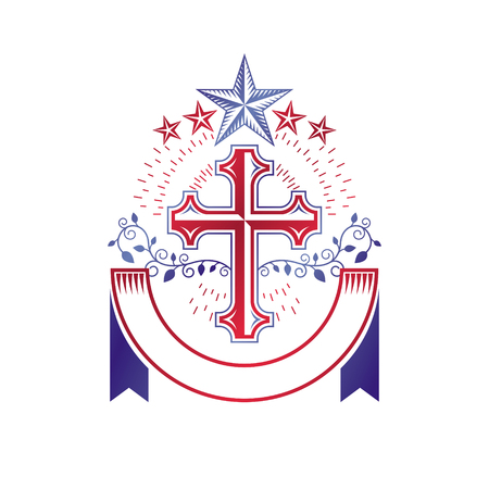 catholicism: Christian Cross gothic emblem created with pentagonal star and floral ornament. Heraldic Coat of Arms decorative logo isolated vector illustration. Religion and spirituality art symbol. Illustration