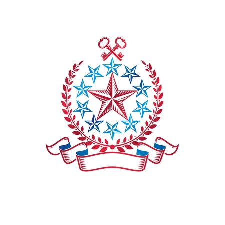 Ancient pentagonal Star emblem decorated with keys and laurel wreath, security theme. Heraldic vector design element, guard symbol.  Retro style label, heraldry logo.