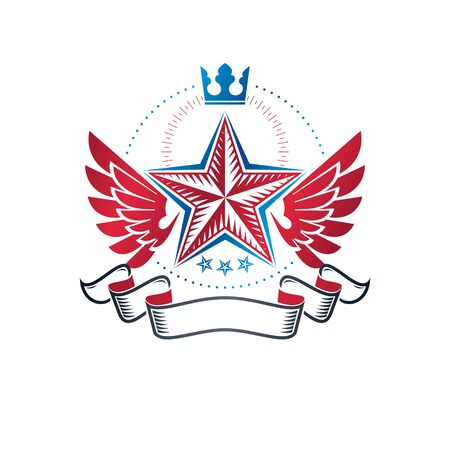 Winged military Star emblem created with imperial crown and luxury ribbon, victory award symbol.  Heraldic Coat of Arms decorative logo isolated vector illustration.