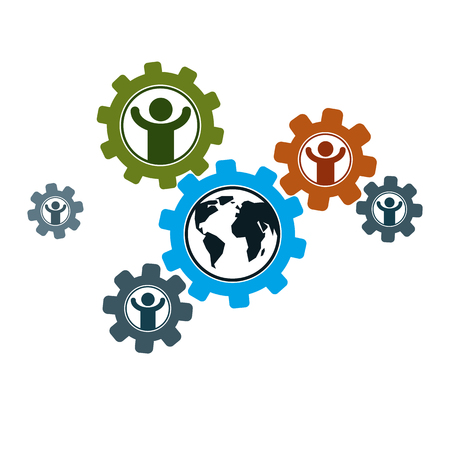 World and Person creative logo, unique vector symbol created with different icons. System and social Matrix sign. Illustration