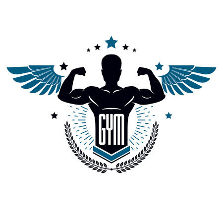 Fitness and heavyweight gym sport club template, retro style vector emblem with wings. With sportsman silhouette.