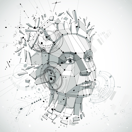 Communication technology 3d vector made with engineering draft elements and mechanism parts, science subject. Low poly illustration of human head full of thoughts, intelligence allegory.