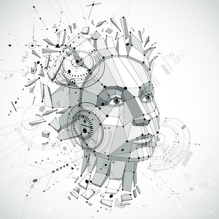 Vetor da tecnologia de comunicação 3d feito com elementos de esboço da engenharia e peças do mecanismo, assunto da ciência. Baixa ilustração poli da cabeça humana completamente dos pensamentos, alegoria da inteligência.
