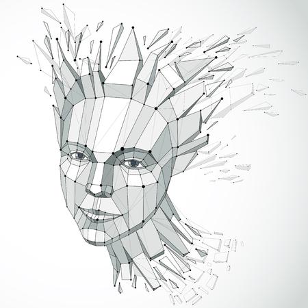 3 d ベクトルの肖像線のメッシュを作成します。インテリジェンスの寓話は、グレースケールの低ポリ破片に直面するどの秋離れて、頭爆発するアイ