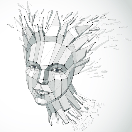 3d vector portrait created with lines mesh. Intelligence allegory, Grayscale low poly face with splinters which fall apart, head exploding with ideas, thoughts and imagination. Illustration