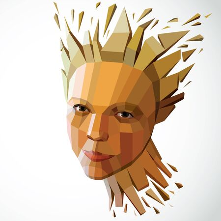 Modern technological illustration of personality, 3d vector portrait. Intelligence metaphor, low poly face with splinters which fall apart, head exploding with ideas, thoughts and imagination.