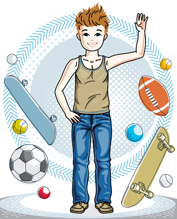 school age: Beautiful little boy cute child standing in stylish casual clothes. Vector pretty nice human illustration. Fashion and lifestyle theme cartoon.