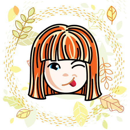 Vector illustration of beautiful red-haired happy girl face, positive face features, clipart. Teenager winking and making funny grimace. Illustration