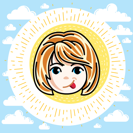 Vector illustration of beautiful red-haired happy girl face, positive face features, clipart. Teenager making funny grimace.