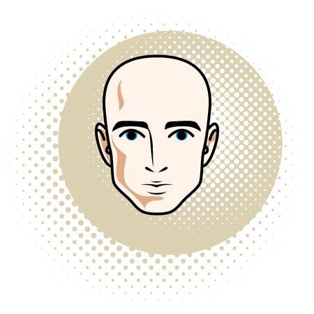 Man face, human head. Vector character, handsome bald male. Иллюстрация