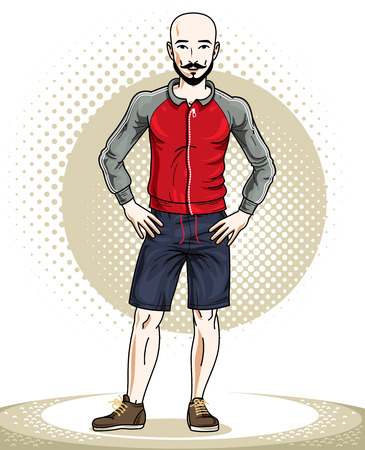 Handsome bald young man standing. Vector illustration of sportsman with beard and whiskers.  Active and healthy lifestyle theme cartoon. Illustration