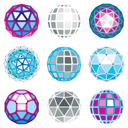 netting: Set of abstract 3d faceted figures with connected lines. Vector low poly design elements collection, scientific concept. Cybernetic orb shapes with grid and lines mesh, network structure.