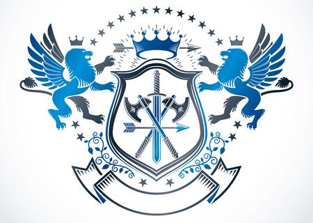 Heraldic sign created using vector vintage elements like mythology gryphon, pentagonal stars and weapon.