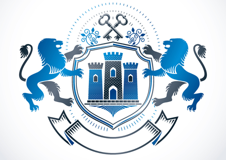 Heraldic sign created using vector vintage elements like wild lion, security keys and ancient tower.