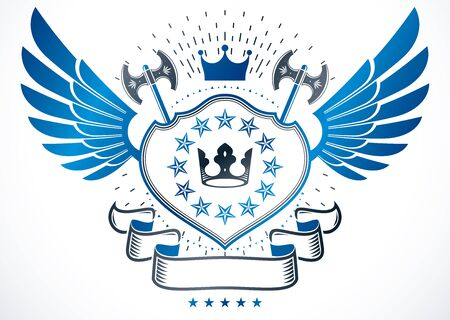 Heraldic sign made with vector elements, heraldry emblem created using royal crown, stars and ancient hatchets