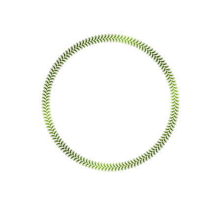 armory: Luxury round frame with empty copy-space, classic heraldic blank circular shape created as springtime design. Retro style label made with green eco leaves, environment conservation theme. Illustration
