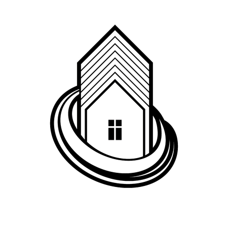 Building and engineering creative element for use in web and graphic design. Real estate agency, home insurance idea vector symbol. Abstract vector house.