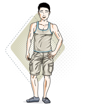 Happy brunet young adult man standing. Vector character wearing casual clothes like jeans shorts and singlet.