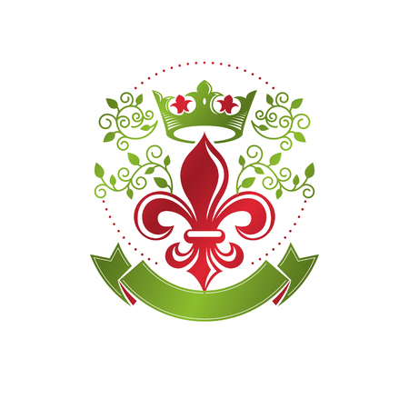 Retro vintage Insignia created with lily flower and imperial crown. Vector product quality idea design element, Fleur-De-Lis.