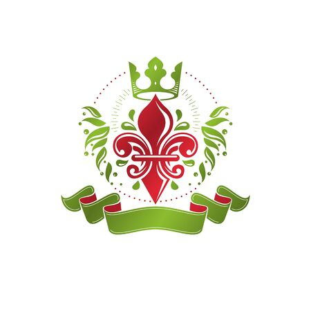 fleur of lis: Retro vintage Insignia created with lily flower and imperial crown. Vector product quality idea design element, Fleur-De-Lis.