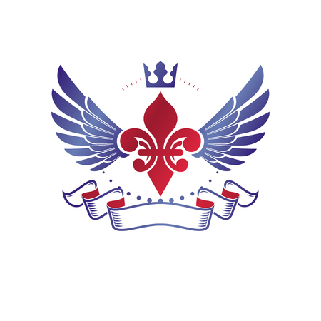 Emblema victoriano compuesto por flor de lirio y corona monarca. Elemento de diseño vectorial de premio de calidad real, etiqueta comercial. Foto de archivo - 79561678