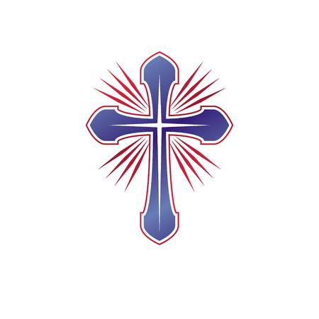 Cross of Christianity graphic emblem. Heraldic vector design element. Retro style label, heraldry logo, religious insignia. Illustration