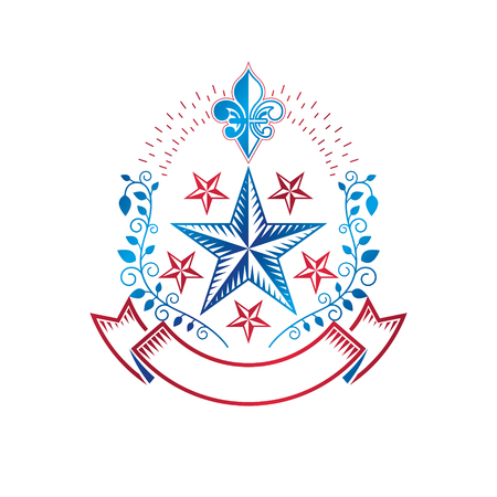 star award: Ancient Star emblem decorated with lily flower and floral ornament. Heraldic vector design element, 5 stars award symbol.