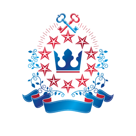 Ancient pentagonal Star emblem decorated with keys and imperial crown, security theme. Heraldic vector design element, guard symbol. Illustration