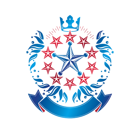 star award: Military Star emblem, victory award symbol created using imperial crown and floral ornament.  Heraldic Coat of Arms decorative logo isolated vector illustration. Illustration