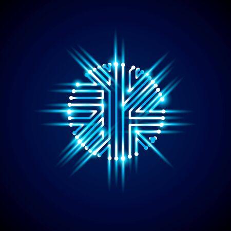 ring flash: Vector sparkling circuit board circle, digital technologies abstraction. Blue shine computer microprocessor scheme, neon futuristic design.