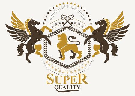 Luxury heraldic vector emblem template. Vector blazon created using graceful Pegasus, wild lion and security keys.