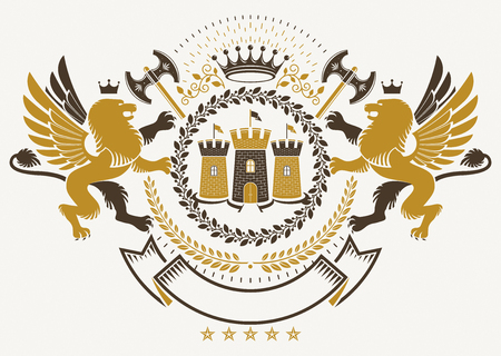 Vector heraldry emblem composed with decorative heraldic elements like gryphon, medieval stronghold and hatchets.
