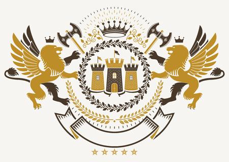 Vector heraldry emblem composed with decorative heraldic elements like gryphon, medieval stronghold and hatchets. Векторная Иллюстрация