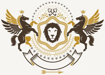 Luxury heraldic vector emblem template. Vector blazon created using graceful Pegasus, monarch crowns and security keys. Wild lion.