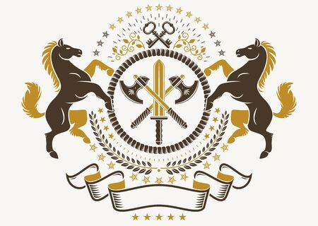 Luxury heraldic vector emblem template. Vector blazon composed with graceful horse illustration, security keys and hatchets crossed,