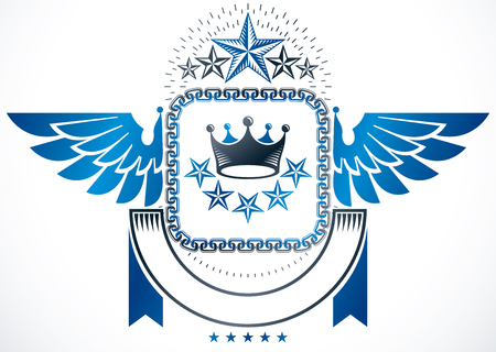 star award: Winged classy emblem, vector heraldic Coat of Arms created using royal crown and pentagonal stars