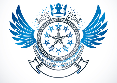 Winged classy emblem, vector heraldic Coat of Arms created using monarch crown, pentagonal stars and laurel wreath