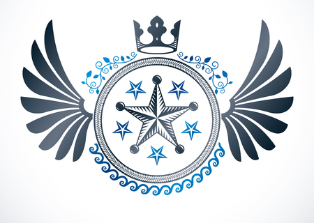 Winged classy emblem, vector heraldic Coat of Arms composed with imperial crown and pentagonal stars