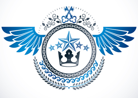 Winged classy emblem, vector heraldic Coat of Arms created using security keys, royal crown and stars Illustration