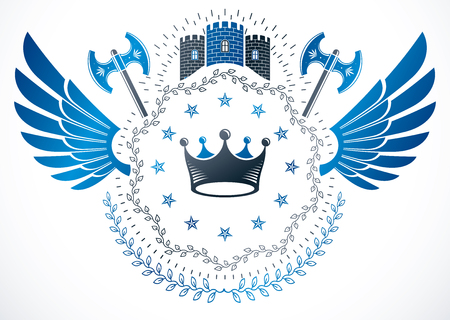 Vintage vector design element. Retro style label composed with medieval tower, royal crown and pentagonal stars. Ancient hatchets.