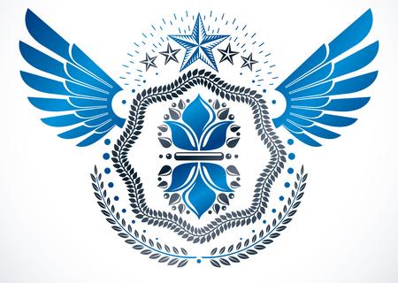 star award: Vintage vector winged design element. Retro style label decorated using lily flower, pentagonal stars and laurel wreath Illustration