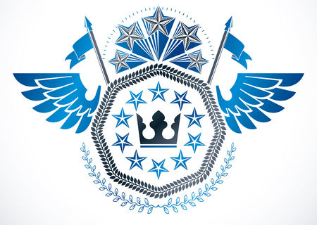 Vintage vector design element. Retro style winged label created using monarch crown, pentagonal stars and laurel wreath