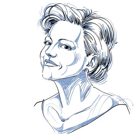 Zwart-wit vector hand-drawn beeld, vreedzame jonge vrouw. Zwart en wit illustratie van vertrouwen meisje. Stock Illustratie