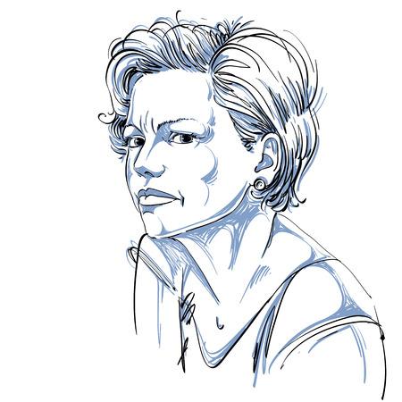 Vectorportret van aantrekkelijke vrouw die twijfel, illustratie uitdrukken van knap wijfje. Persoonlijk emotionele gezichtsuitdrukking. Stock Illustratie