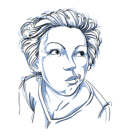concerned: Graphic vector hand-drawn illustration of white skin attractive dazed lady with stylish haircut. People face expressions. Girl making a grimace.